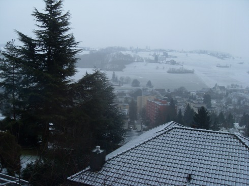 waking up to snowy mountains
