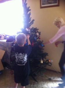 Tree decorating with my nephew.