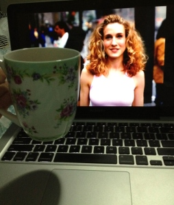 Green tea in my new floral mug watching sex and the city in bed <3