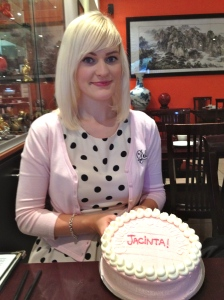 At Enlightened with my Mister nice guy Vegan Cake. (It says Congratulations Jacinta not just my name!)