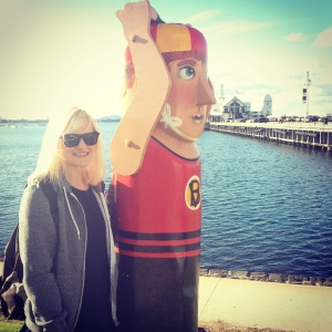 Hanging out with wooden people in Geelong.
