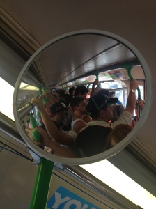 Packed trams in summer.