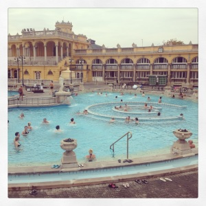 The amazing thermal baths at Szechenyi.