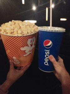 Huge Drink and Popcorn at CineStar Sony Center.