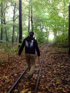 Following the mini train track.
